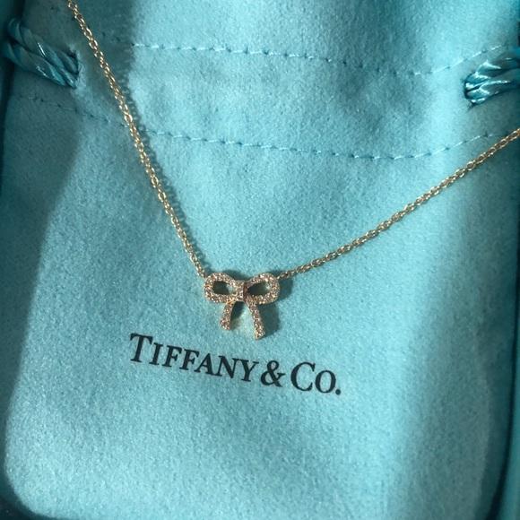 1fe8ee9d6 Tiffany & Co. Jewelry   Tiffany 18k Rose Gold Diamond Bow Necklace ...